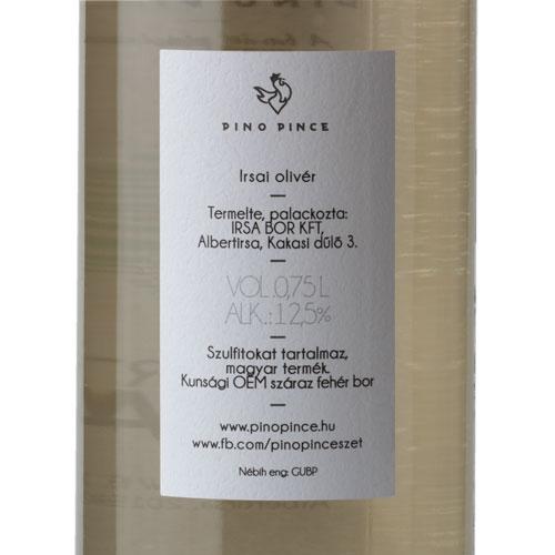 Pino Pince Albert Irsai 2019 fehér bor cimke