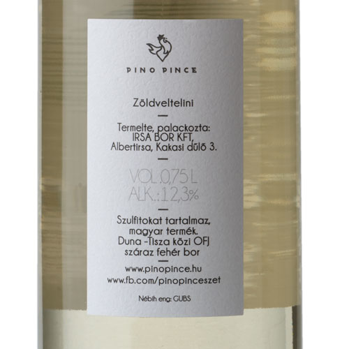 Pino Pince Zöldelini 2019 fehér bor cimke